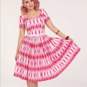 EUC  Pinup Couture Gena Dress in Pink Harlequin